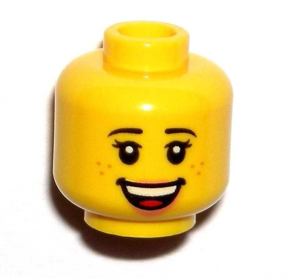 Lego 20 New Minifigure Head Black Eyebrows Mouth Open Showing Upper Teeth Parts