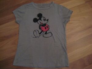 LADIES-CUTE-GREY-MICKEY-MOUSE-LOGO-SHORT-SLEEVE-TOP-BY-DISNEY-SIZE-XL-10-12