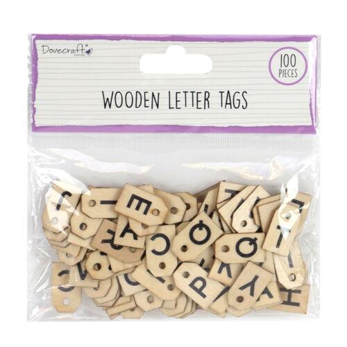 100 pcs Wooden Dovecraft Essentials Letter Tags