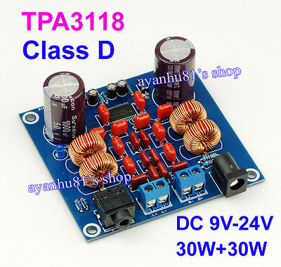 DC 12V 24V TPA3118 30W+30W Class D HIFI Digital Audio Power Amplifier Board Car