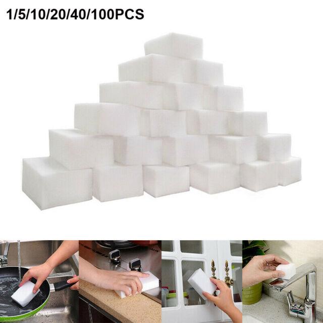 Magic Sponge Sponges 100 Pack Cleaning Melamine Foam Eraser Stain Dirt Remover`