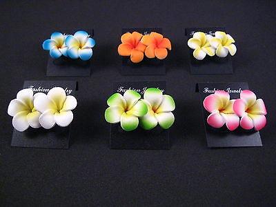 - Set of 12 pcs (6 pairs) - *Mini Hawaiian Plumeria Flower Stud Earrings *