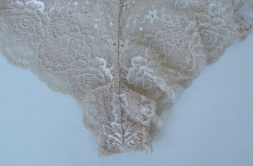 Details about  /Ladies//Girls Ex Chainstore sze 14 lace Brazilian knickers panties briefs Natural