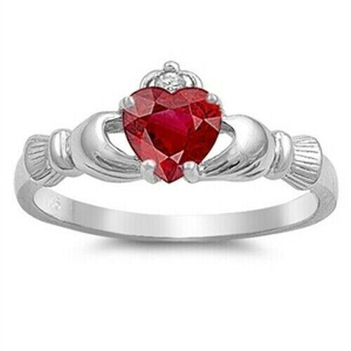Celtic Claddagh Ring genuie Sterling Argent 925 Rubis Cz face hauteur 9 mm TAILLE 10