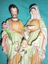 ANCIENNE STATUE RELIGIEUSE/SAINT FAMILLE/VIERGE/ENFANT JESUS/BISCUIT/XIXè/H.27cm