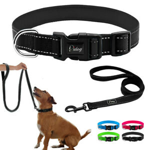 Reflective-Dog-Collar-and-Lead-Set-Set-D-ring-Nylon-Collars-Small-Medium-Large