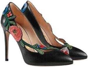 db8defa4d4f Image is loading Gucci-Black-Ophelia-Floral-Embroidered-100mm-Leather- Flowers-