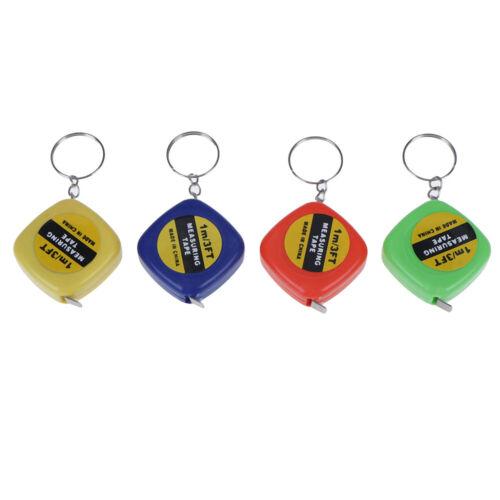 1Pc Rini keychain key ring easy retractable tape measure pull ruler 1mRA