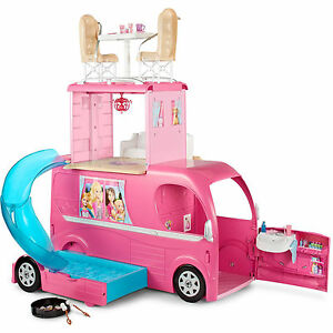 Barbie Camper Van Rv Pop Up Toy Play Pool And Slide Playset Brand New Ebay