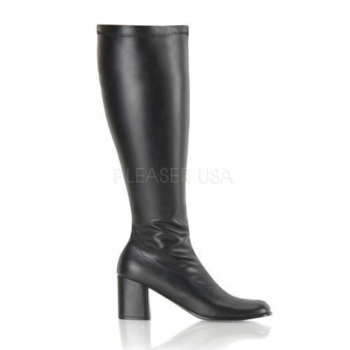 3  Black Wide Width Calf Stretchy GoGo Knee High Hippie Womans Boots 8 9 10 11 W