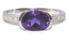 FINE 9CT WHITE GOLD SINGLE STONE AMETHYST & DIAMOND CLUSTER ENGAGEMENT RING