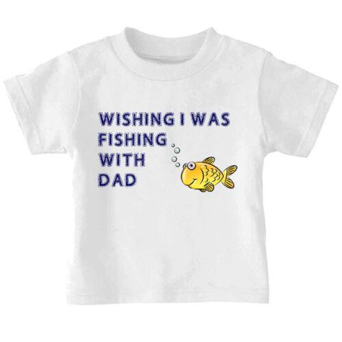 Yellow Fish Wishing I Was Fishing With Daddy Toddler Kid T-shirt Tee 6mo Thru 7