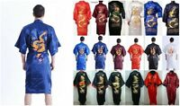 A++ New Men's Satin Japanese Chinese Kimono Dressing Gown Bath Robe Nightwear