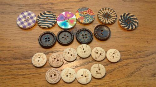 Grandes botones madera 30mm 25mm 20mm Flor Botones de abrigo de costura de cebra