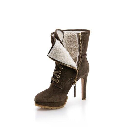HUGO Boss Platform Wendi Shearling suede Ankle Ankle Ankle Boot Dark Green Heel 37 booties 81cf8a