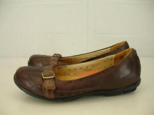 Womens-7-M-Clarks-Unstructured-Un-Buckle-Brown-Leather-Comfort-Shoes-Loafer-Flat