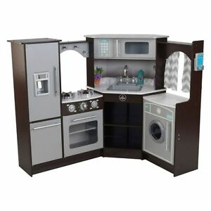 NEW-KidKraft-Ultimate-Corner-Play-Kitchen-Espresso