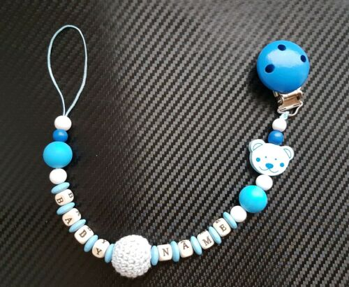 Personalised BPA FREE Silicone and Wood Dummy Clip Teether Holder Boys Girls