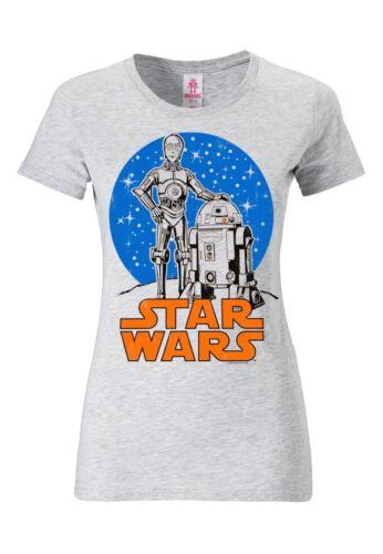R2-D2 /& C-3PO Women/'s Short Sleeve Star Wars grey Girls T-Shirt LOGOSHIRT