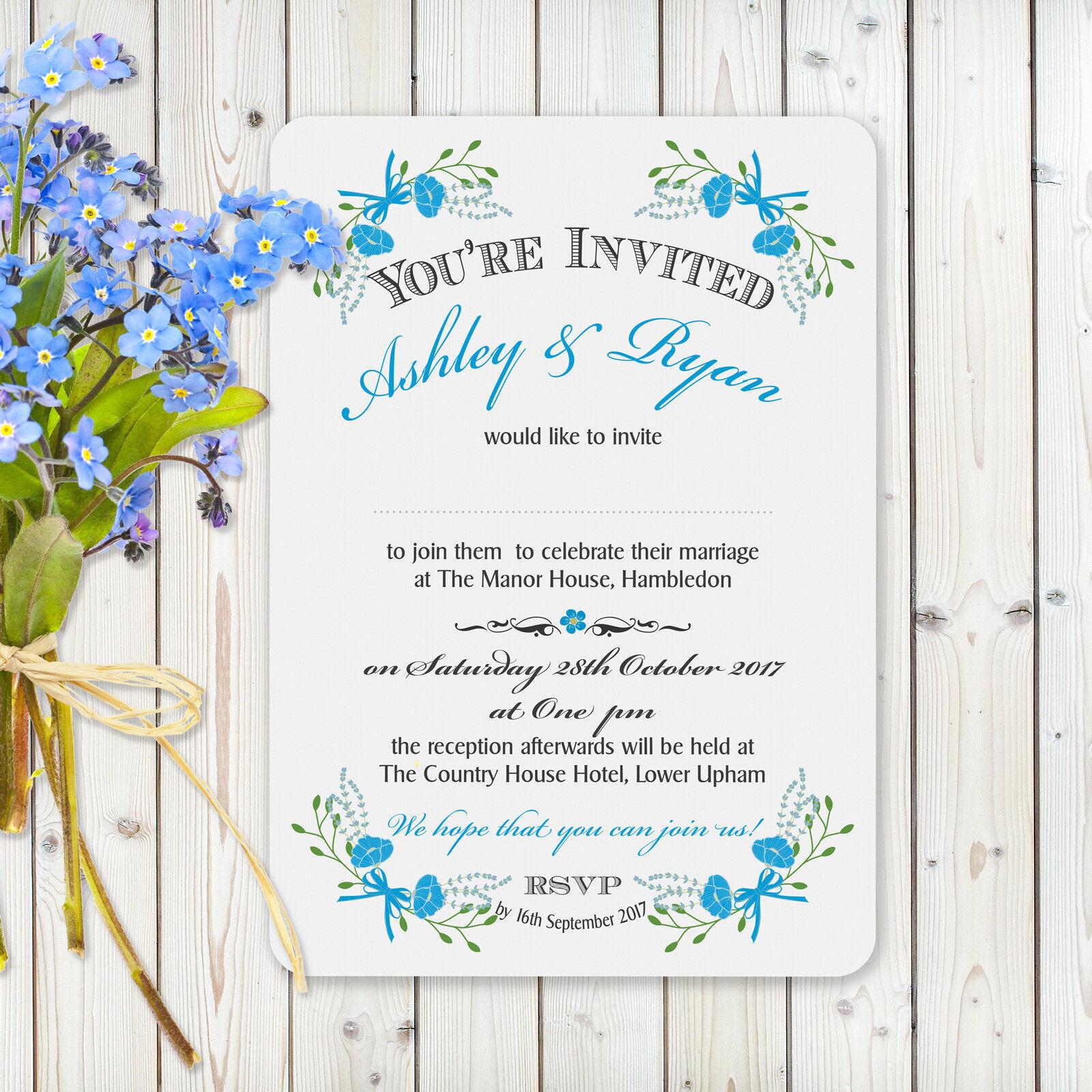 Personalised Vintage Wedding Invitations Fantasy Floral Blau inc Envelopes Weiß