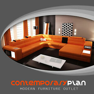 Details about Polaris Orange Genuine Leather Sectional Sofa- Modern Design  U Shape Comfortable