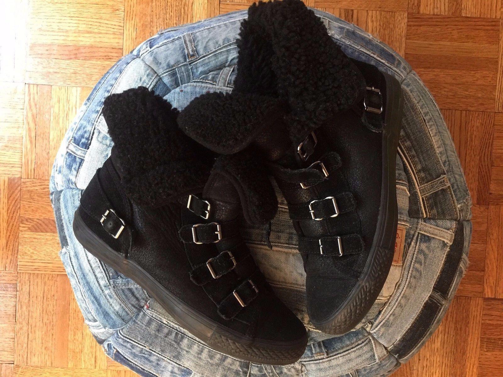ASH VISBY Noir Suede Shearling Femme Designer High Top Top Top Sneakers 7 EUR 38 cc9434