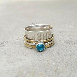 Blue-Topaz-Stone-Solid-925-Sterling-Silver-Spinner-Ring-Meditation-Ring-Size-sr1
