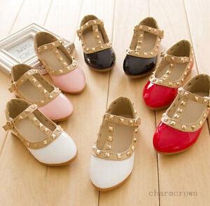 Bebe-Fille-Enfant-Princesse-Sandales-Rivet-Boucle-T-sangle-Chaussures-Plates