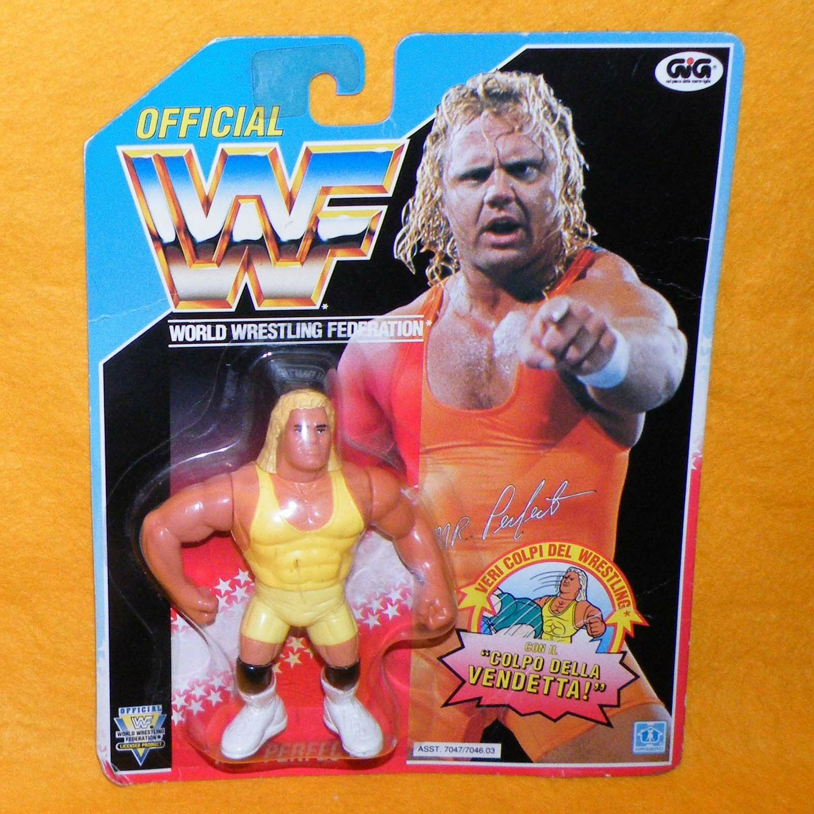 VINTAGE 1993 HASBRO GIG WWF WRESTLING SERIES 8 MR. PERFECT FIGURE MOC CARDED