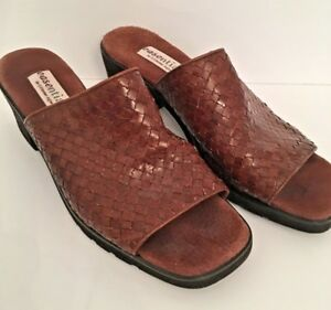 9-5M-Easentials-by-Etienne-Aigner-Women-039-s-Brown-Leather-Woven-Slide-Sandals-034-Isl