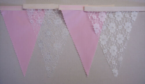 Fabric Bunting BABY PINK /& IVORY LACE Wedding Street Party Decoration 1mt or mor