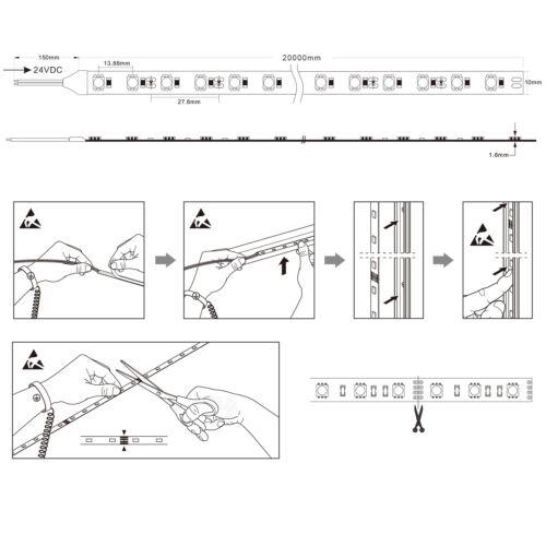 ✅ AB 0,5m- 20 m 72 DEL//m RA 90+ DEL Volume 3-chip 5050 Neutralweiß 24vdc ip65