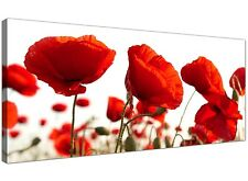 Red Extra large Canvas Print of Poppy Flowers  - 120cm x 50cm - 1056