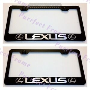 2X-Lexus-With-Logo-Black-Stainless-Steel-License-Plate-Frame-Rust-Free-W-Boltcap