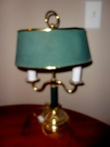 Vintage Solid Brass Dual Candle Light Green Shade Desk