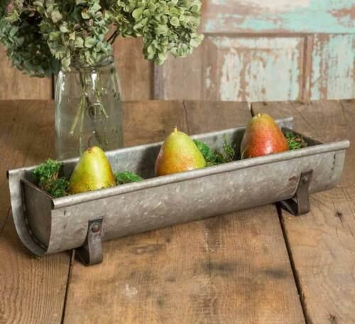 """Rustic Farmhouse Kitchen Garden Galvanized Metal Chicken Feeder Planter 17/"""" W"""