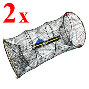 2-x-Crab-Fish-Crayfish-Lobster-Shrimp-Prawn-Eel-Live-Trap-Net-Bait-Fishing-Pot