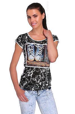 Casual T-Shirt Zapatos impresión Cuello Redondo Manga Corta Top túnica Tamaños 8-12 fb211