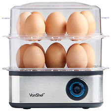 VonShef Egg Boiler Poacher Steamer Cooker Omelette Maker 16 Egg Large Electric