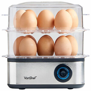 VonShef Egg Boiler Poacher Steamer Cooker Omelette Maker 16 Egg Large Electric