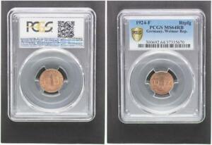1 Pfennig J.306 Currency Coin 1924 F Mint State Kupferpatina PCGS MS64RB (37467