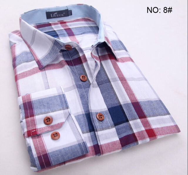 6180 New Mens Fashion Button Plaids Luxury Casual Slim Fit Stylish Dress Shirts