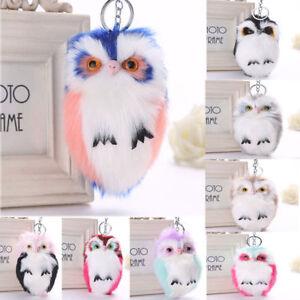 Cute Owl Keychain Pendant Women Key Ring Holder Pompoms Key Chains ... 4059b2c73