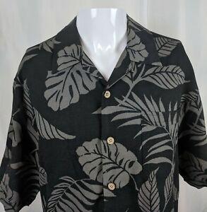 L-Black-Grey-Tiki-Goth-Palm-Frond-Leaves-Hawaiian-Aloha-Shirt-Jamaica-Jaxx