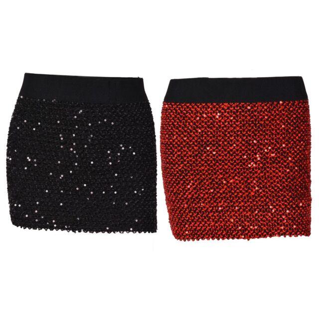 Women Elastic Waist Sparkling Sequin Clubbing Party Bodycon Sexy Mini Skirt