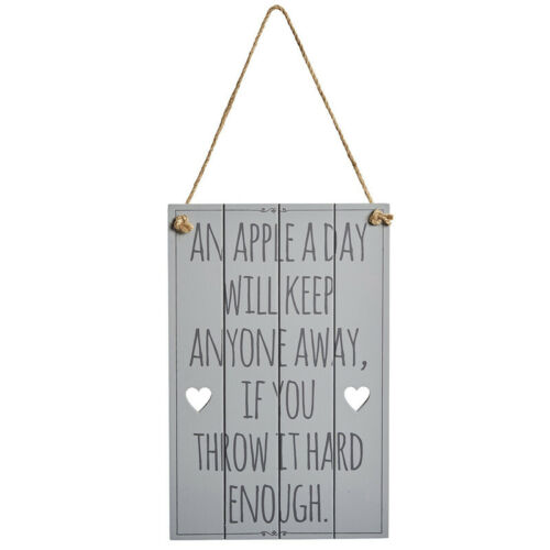 An Apple a Day Novelty Grey Wooden Sign Plaque Funny Comical Plaque Funny