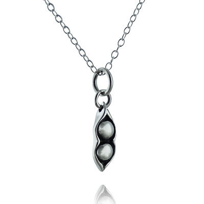 925 Sterling Silver Two Peas in a Pod Peapod Charm Necklace Friends Bridesmaid