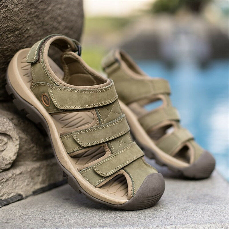 Summer Mens Leather Closed toe Fisherman Beach Waterproof shoes Sports SandalsT