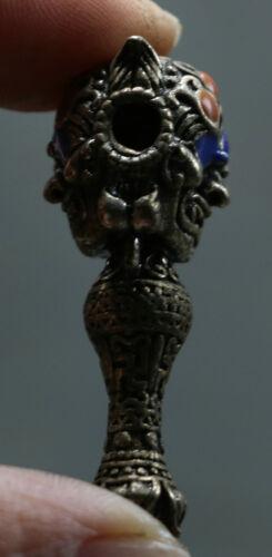 Chinese Miao Silver Inlay Gem Mahakala Wrathful Deity Head Buddha Amulet Pendant