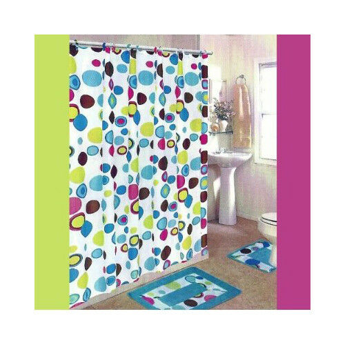 Plazatex Deluxe Shower Curtain 72 X 72 With Matching Hooks - 12 ...